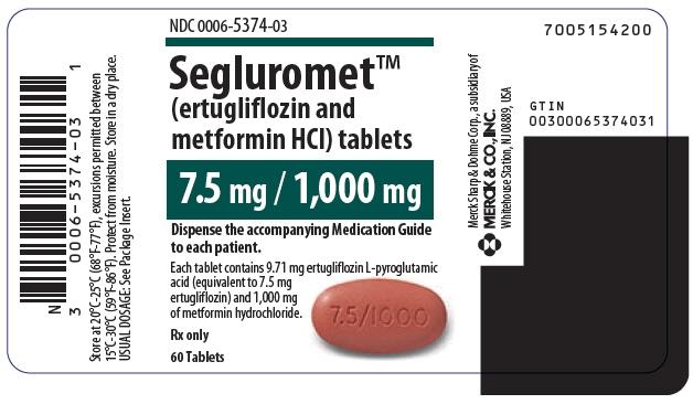 PRINCIPAL DISPLAY PANEL - 7.5 mg/1,000 mg Tablet Bottle Label