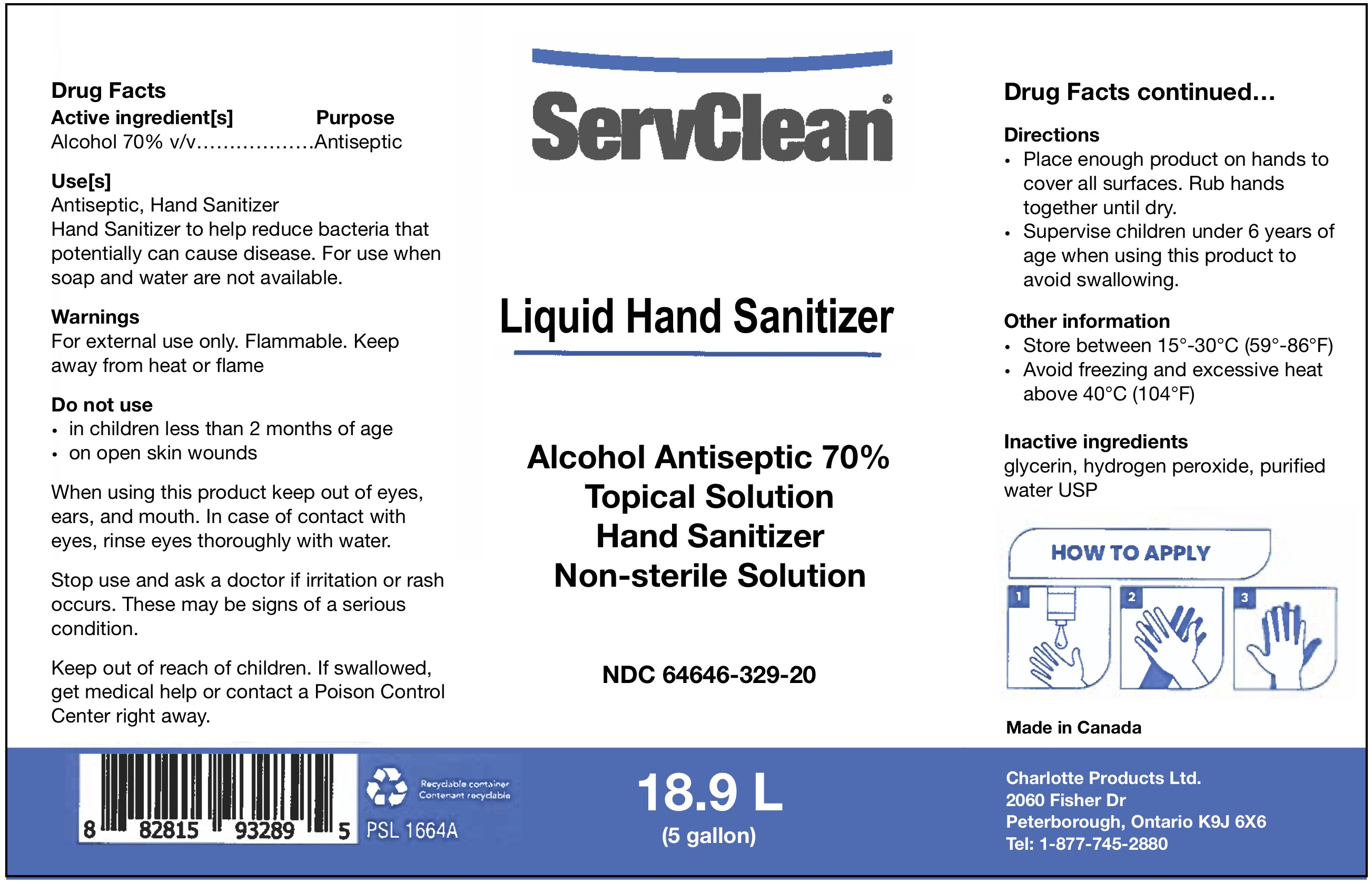 Liquid Hand Sanitizer Pail 64646-329-20