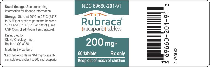 Principal Display Panel - Rubraca tablets 200 mg Bottle Label