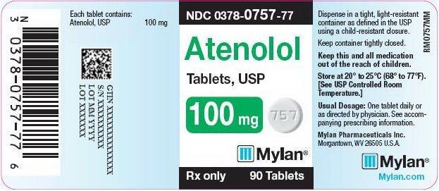 Atenolol Tablets 100 mg Bottle Label