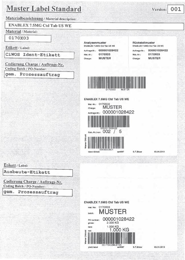 BULK ENABLEX 7.5MG Ctd Tab US WE Material: 0170X03 CiWOS Ident-Etikett gem. Prozessauftrag