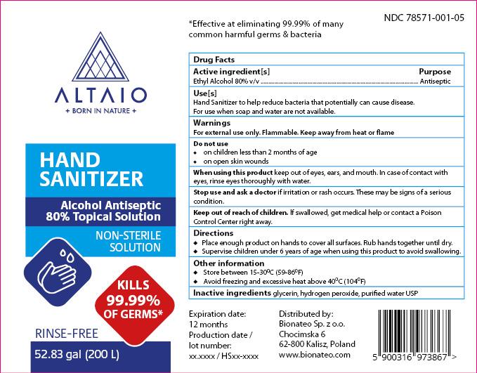 ALTAIO Hand Sanitizer 200000 mL