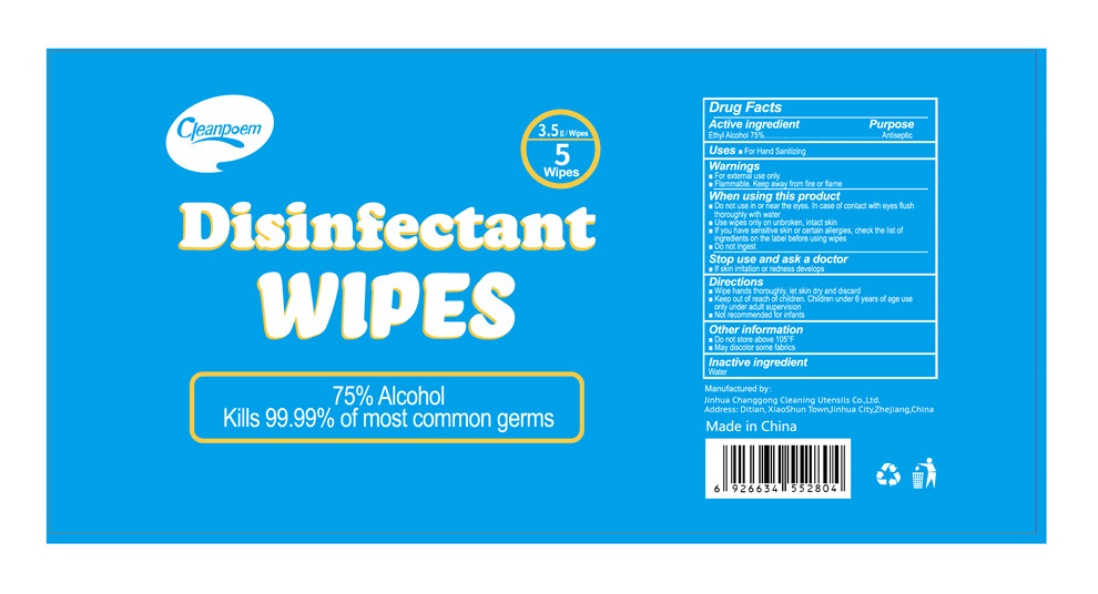 5 wipes label
