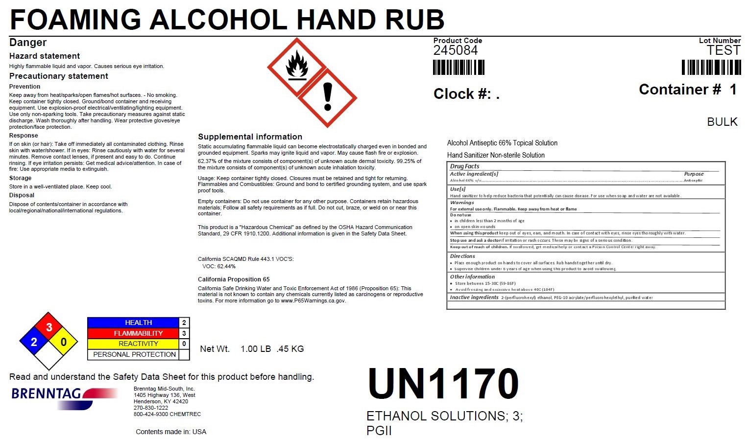 FOAMING ALCOHOL HAND