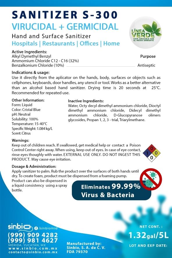 Label S-300 Sanitizer
