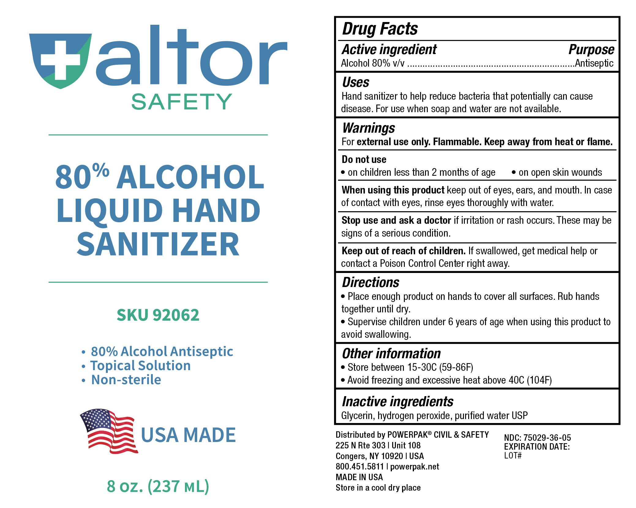 Altor Safety - 80% Alcohol Liquid Hand Sanitizer - 8oz (237mL) - 75029-036-05