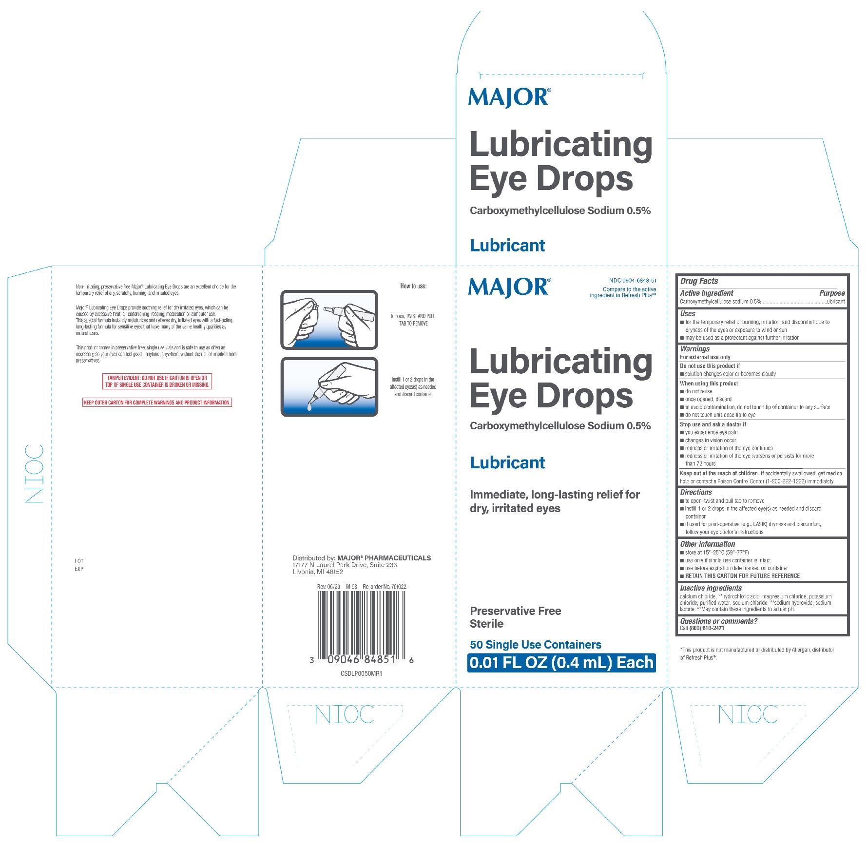 Major Lubricating Eye Drops 50ct