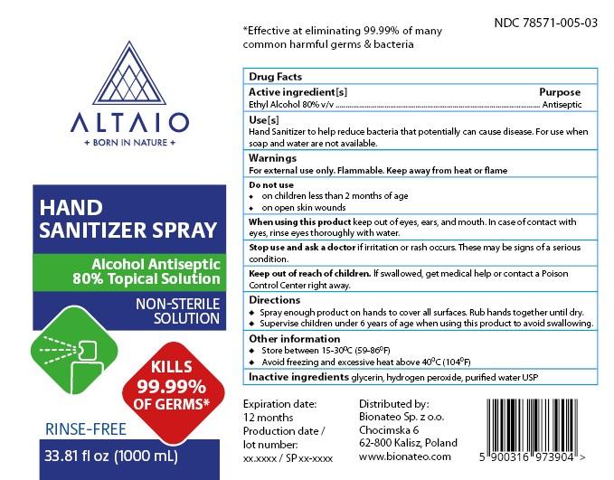 ALTAIO Hand Sanitizer Spray 1000 mL