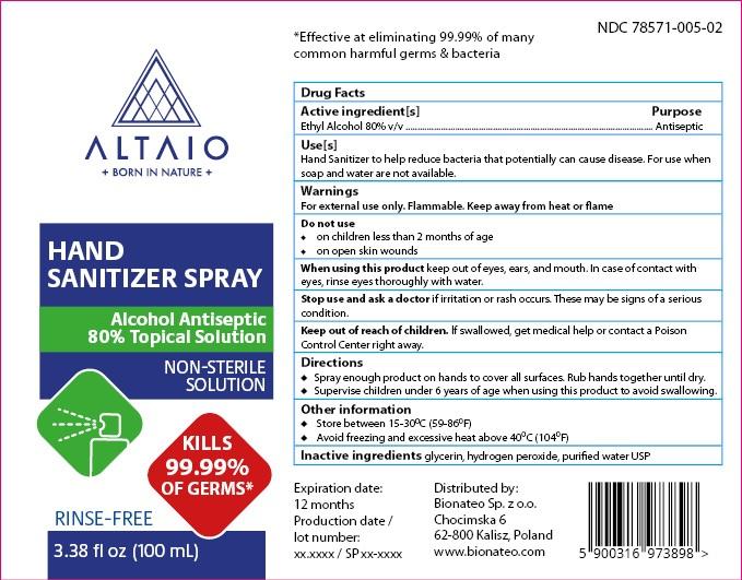 ALTAIO Hand Sanitizer Spray 100 mL