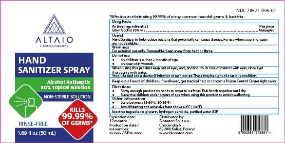 ALTAIO Hand Sanitizer Spray 50 mL
