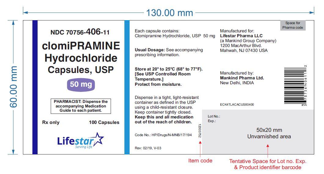 Clomipramine Hydrochloride Capsules, USP 50 mg Bottle Label