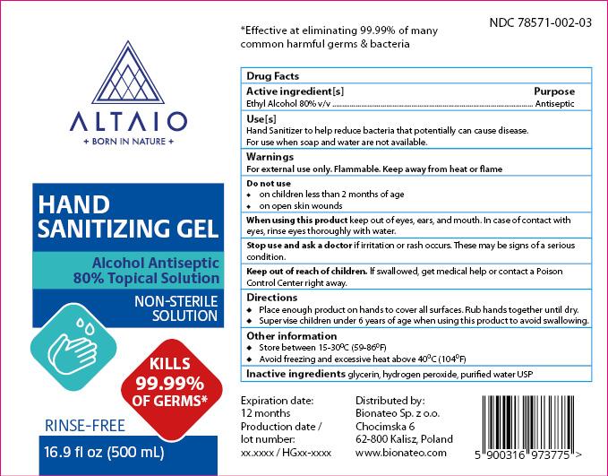 ALTAIO Hand Sanitizing Gel 500 mL