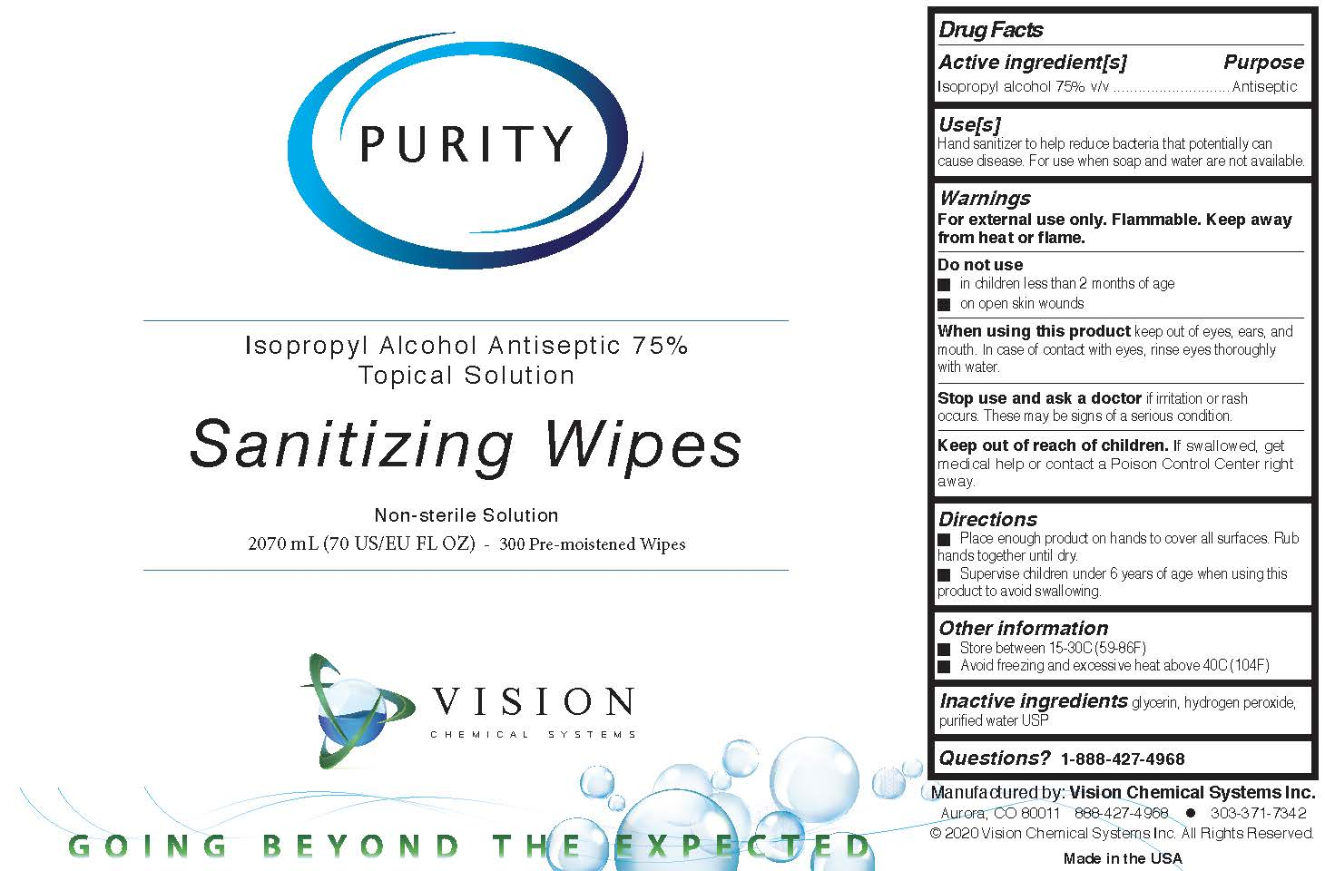 Purity Sanitizing Wips 300 Count