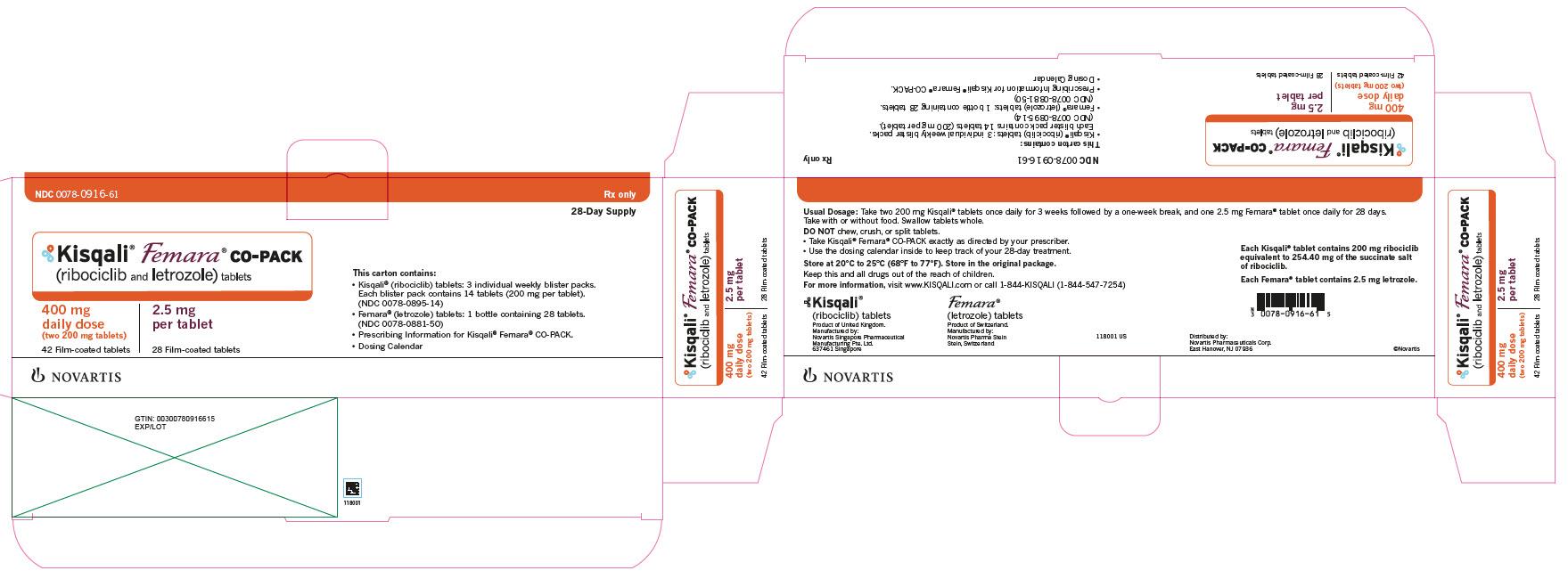 PRINCIPAL DISPLAY PANEL Kisqali Femara CO-PACK (ribociclib and letrozole) tablets 400 mg daily dose (two 200 mg tablets) 42 Film-coated tablets 2.5 mg per tablet 28 Film-coated tablets 28-Day Supply NDC: <a href=/NDC/0078-0916-61>0078-0916-61</a> Rx only