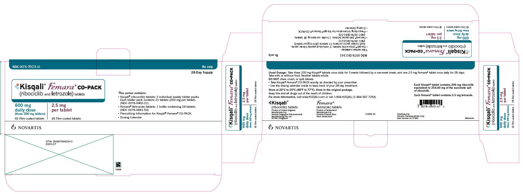 PRINCIPAL DISPLAY PANEL Kisqali Femara CO-PACK (ribociclib and letrozole) tablets 600 mg daily dose (three 200 mg tablets) 63 Film-coated tablets 2.5 mg per tablet 28 Film-coated tablets 28-Day Supply NDC: <a href=/NDC/0078-0923-61>0078-0923-61</a> Rx only