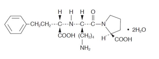 Lisinopril, USP is an oral long-acting angiotensin converting enzyme (ACE) inhibitor. Lisinopril, a synthetic peptide derivative, is chemically described as (S)-1-[N2-(1-carboxy-3-phenylpropyl)-L-lysyl]-L-proline dihydrate. Its empirical formula is C21H31N3O52H2O and its structural formula is: