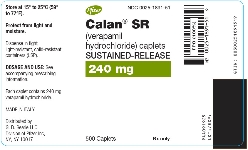PRINCIPAL DISPLAY PANEL - 240 mg Caplet Bottle Label - 500 Caplet