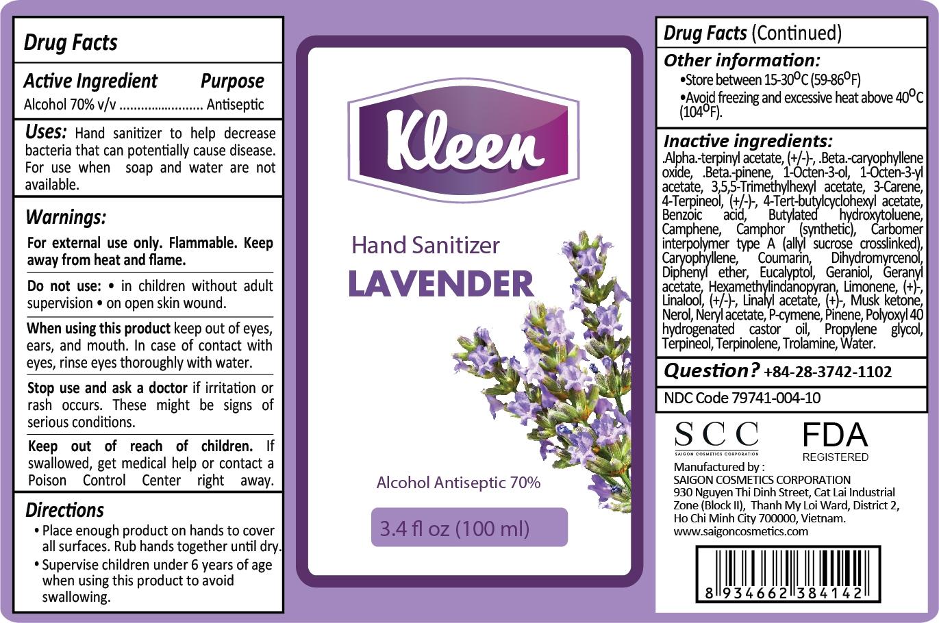 Kleen Hand Sanitizer Lavender 100ml Label