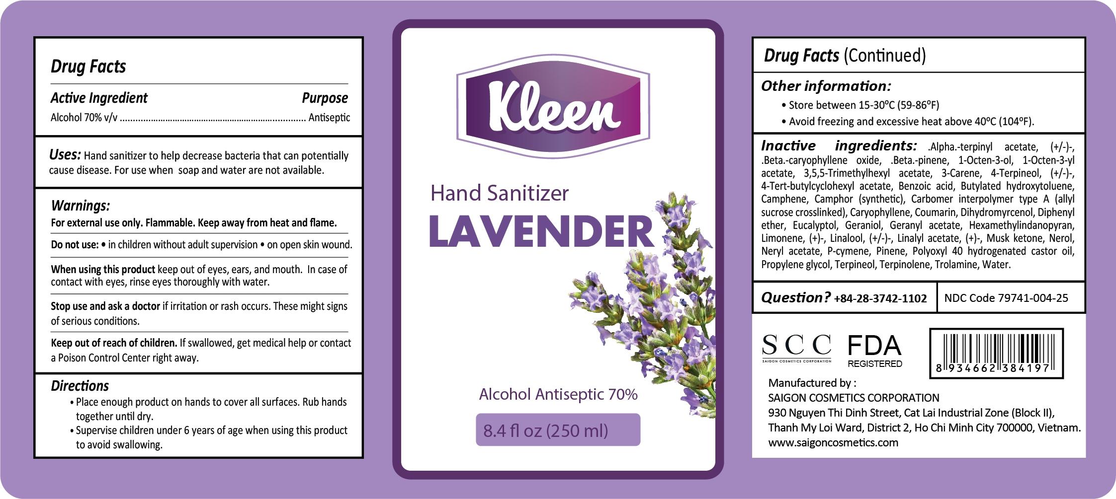 Kleen Hand Sanitizer Lavender 250 ml Label