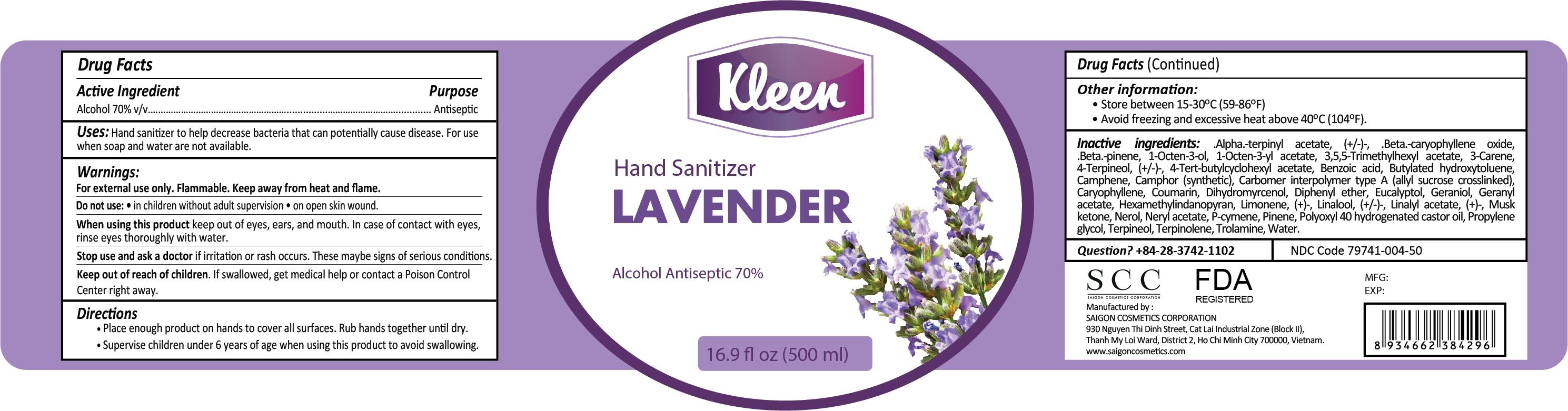 Kleen Hand Sanitizer Lavender 500ml Label