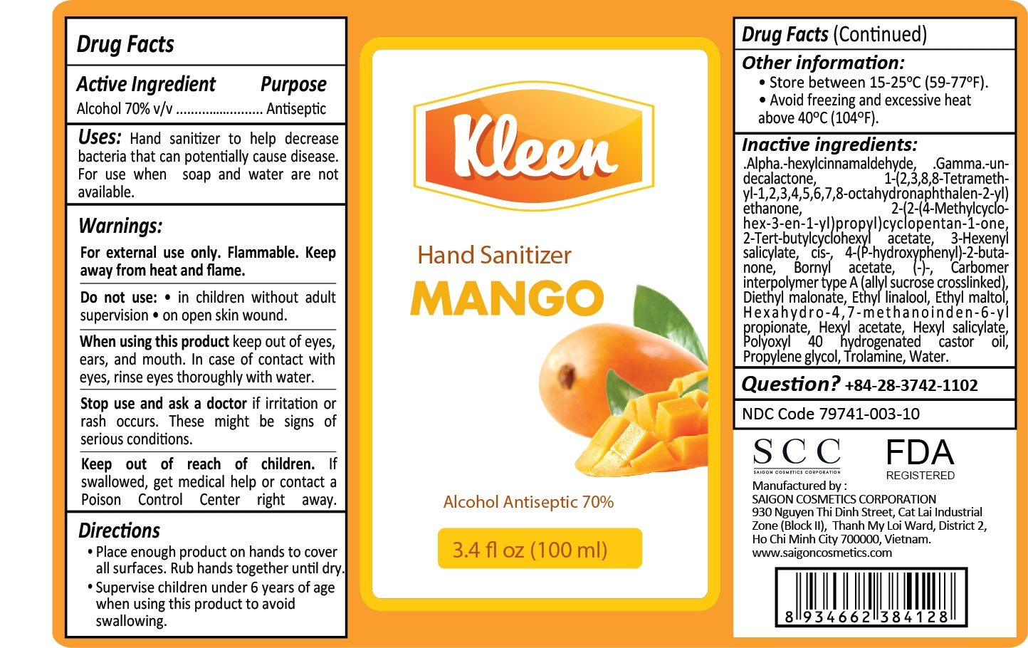 Kleen Hand Sanitizer Mango Label 100mL