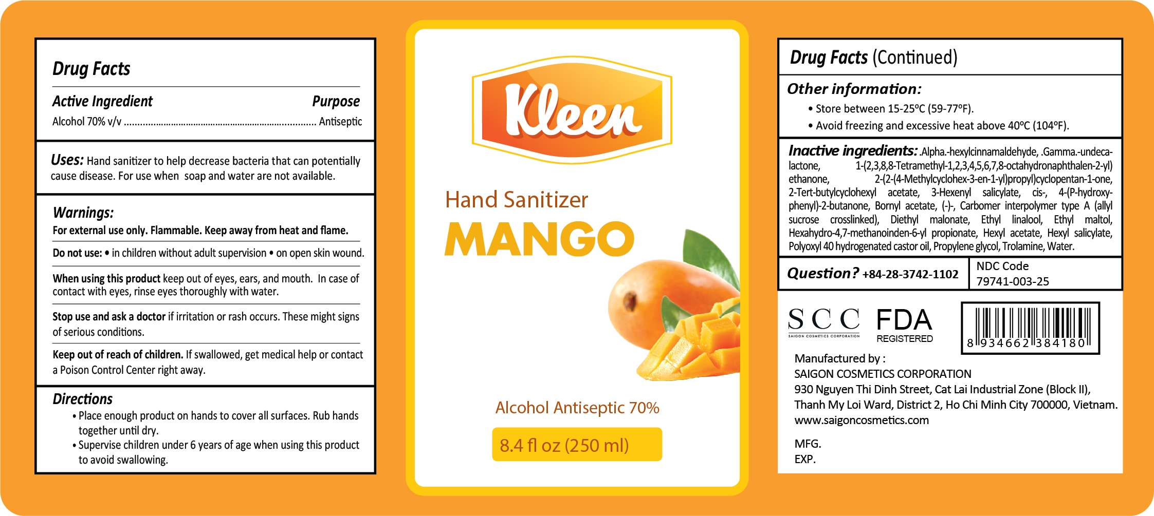 Kleen Hand Sanitizer Mango 250 ml Label