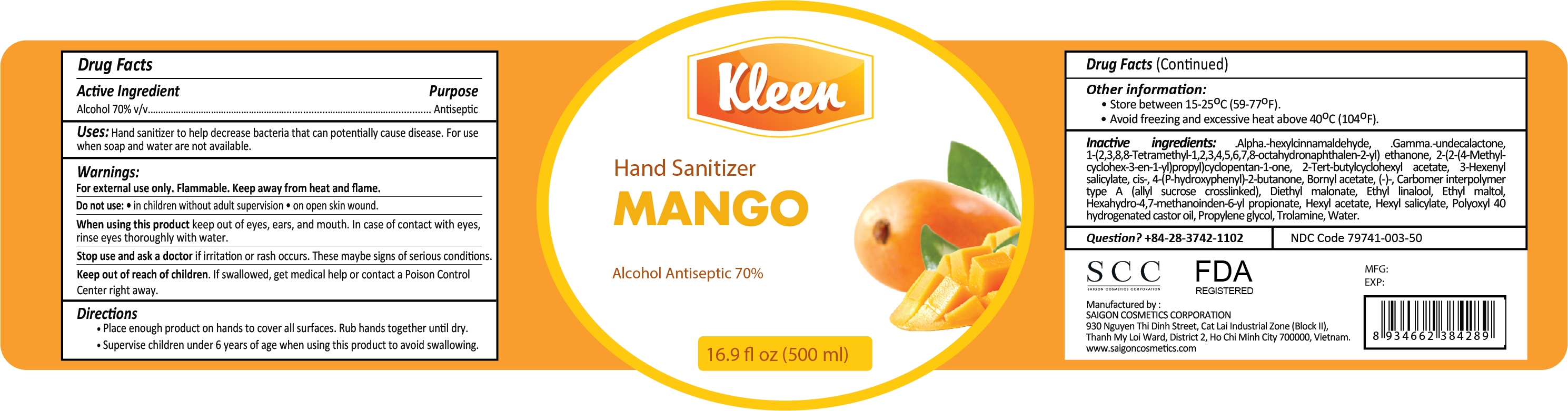Kleen Hand Sanitizer Mango 500ml Label