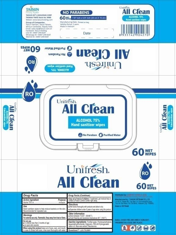 Unifresh All Clean Hand Sanitizer Wipes