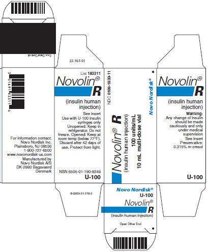 Novolin R vial carton