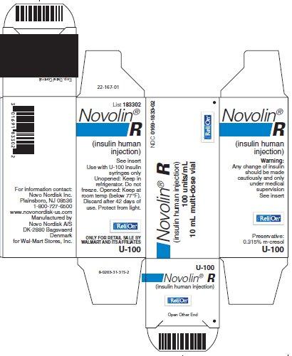 Novolin R vial carton - ReliOn