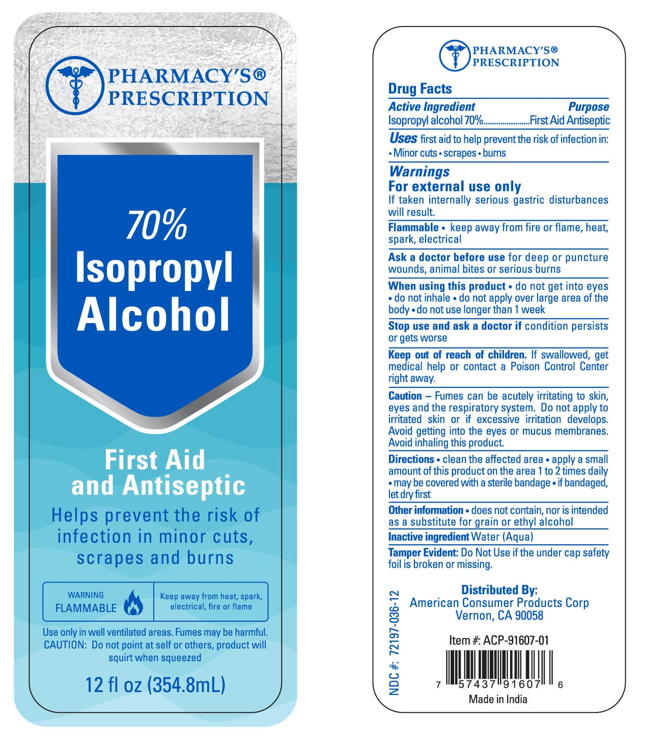 Pharmacys Prescription Isopropyl Alcohol
