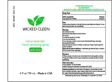 Wicked Cleen Citrus Lavender Hand Sanitizer- 4oz bottle