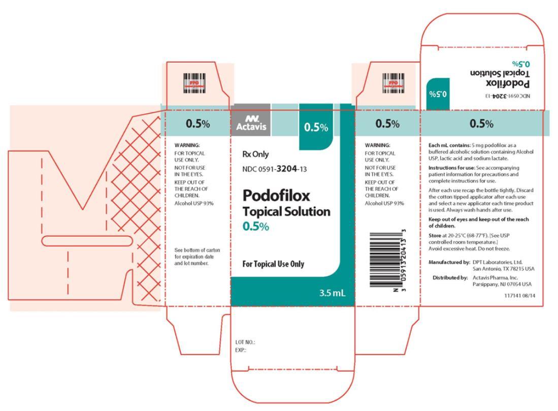 Podofilox Topical Solution NDC: <a href=/NDC/0591-3204-13>0591-3204-13</a> 3.5 mL