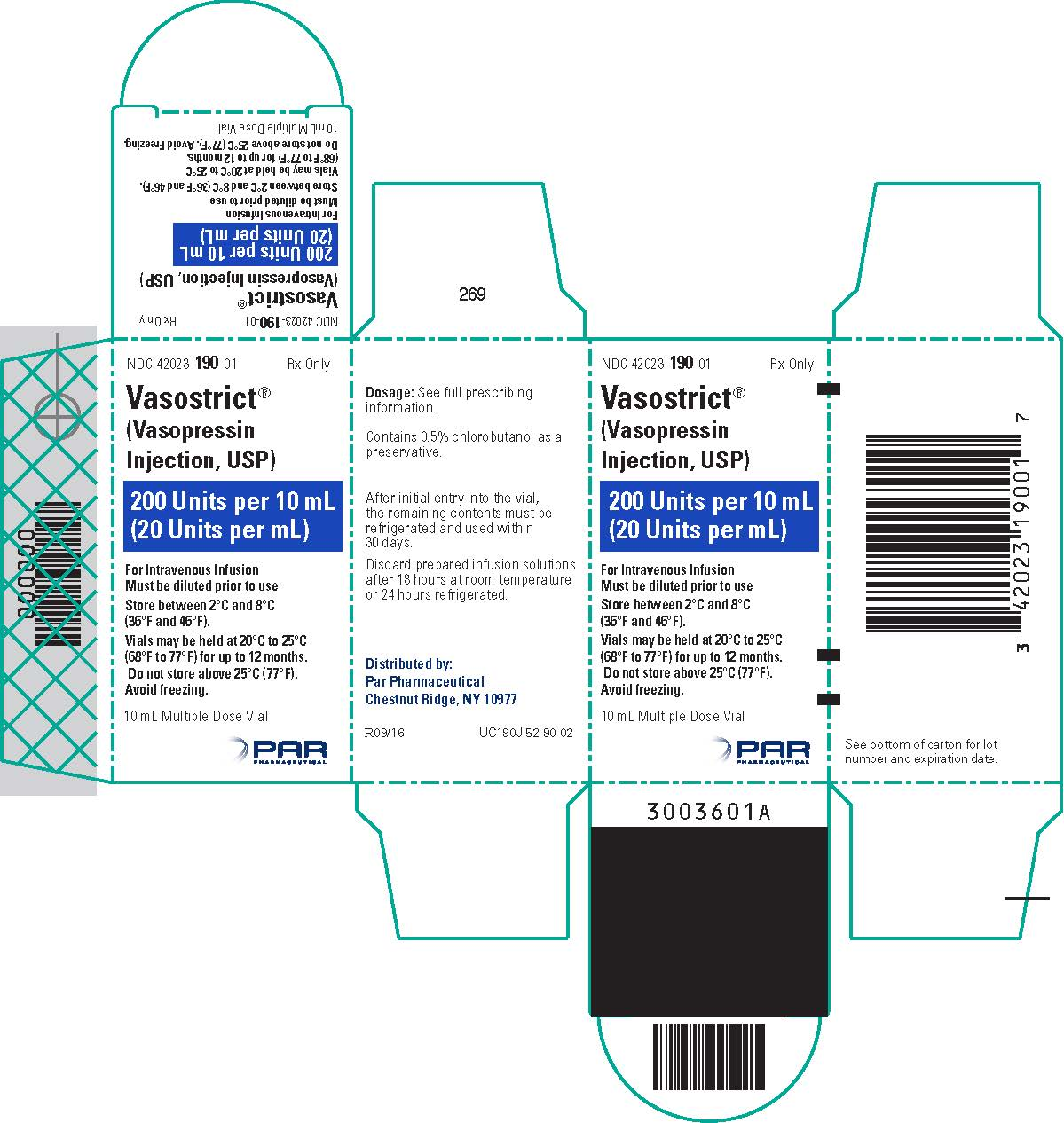 Vasostrict 10 mL Carton