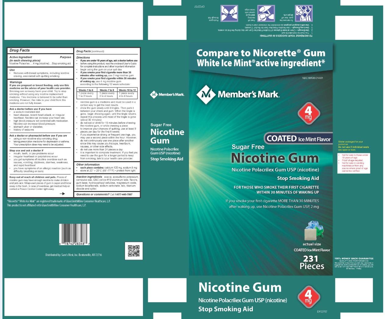 Nicotine Polacrilex Gum USP 4 mg Ice Mint Flavor