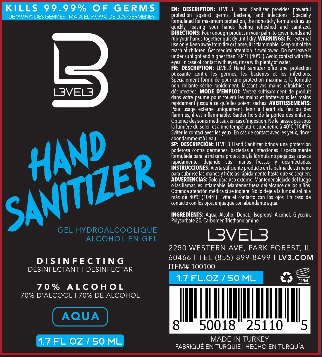 Aqua 50ml Label