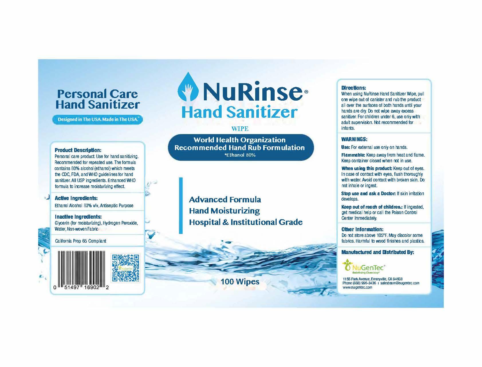 NuRinse- 100 Wipe Label 80%