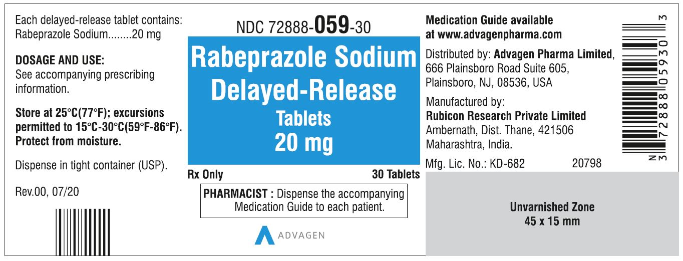 Rabeprazole DR tablets - NDC#72888-059-30 - 30 Counts Label