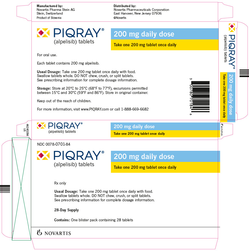 PRINCIPAL DISPLAY PANEL NDC: <a href=/NDC/0078-0701-84>0078-0701-84</a> PIQRAY® (alpelisib) tablets 200 mg daily dose Take one 200 mg tablet once daily Rx only Usual Dosage: Take one 200 mg tablet once daily with food. Swallow tablets whole. DO NOT chew, crush, or split tablets. See prescribing information for complete dosage information. 28-Day Supply Contains: One blister pack containing 28 tablets NOVARTIS