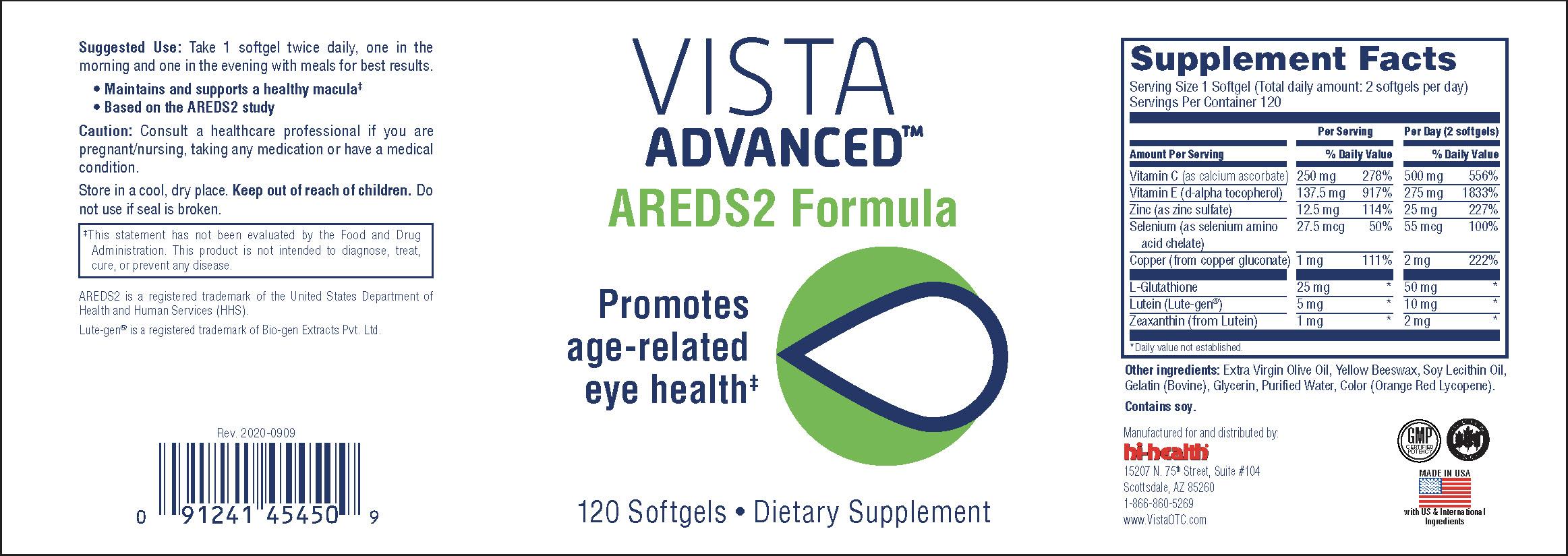Bottle for Vista Advanced AREDS2 Formula 120 softgel