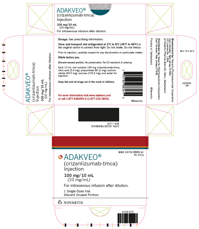 PRINCIPAL DISPLAY PANEL NDC: <a href=/NDC/0078-0883-61>0078-0883-61</a>  Rx Only ADAKVEO® (crizanlizumab-tmca) Injection 100 mg/10 mL (10 mg/mL) For intravenous infusion after dilution. 1 Single-Dose Vial. Discard Unused Portion. NOVARTIS