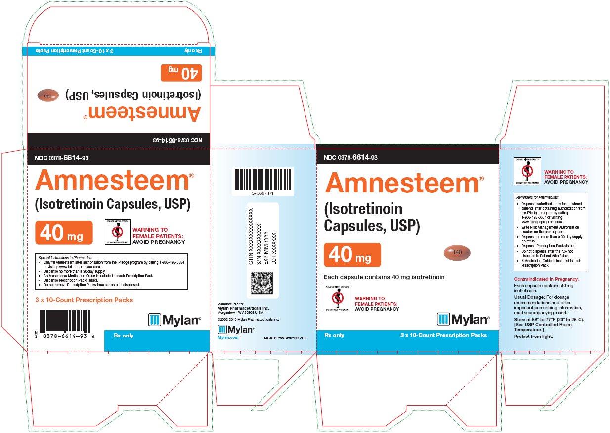Amnesteem Capsules, USP 40 mg Carton Label