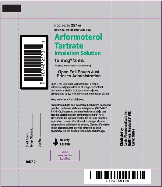 Arformoterol Tartrate Inhalation Solution, 15 mcg/2 mL Rx only Pouch Label - Unit-Dose Vial