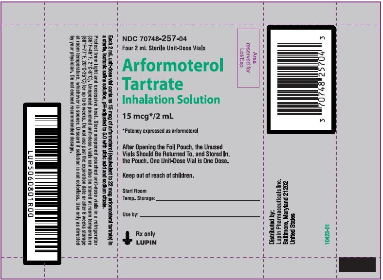 Arformoterol Tartrate Inhalation Solution, 15 mcg/2 mL  Rx only Pouch Label - 4 Unit-Dose Vials