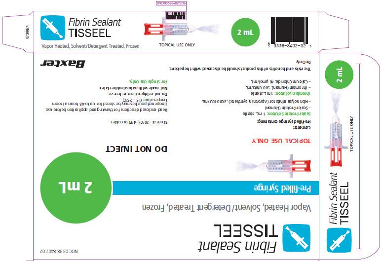 Tisseel Frozen 2mL Representative Carton Label  1 of 2  NDC: <a href=/NDC/0338-8402-02>0338-8402-02</a>