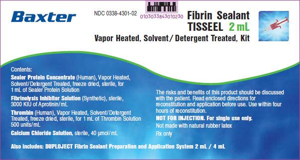 Tisseel Lyo 2mL Representative Sleeve Label 3 of 4  NDC: <a href=/NDC/0338-4301-02>0338-4301-02</a>