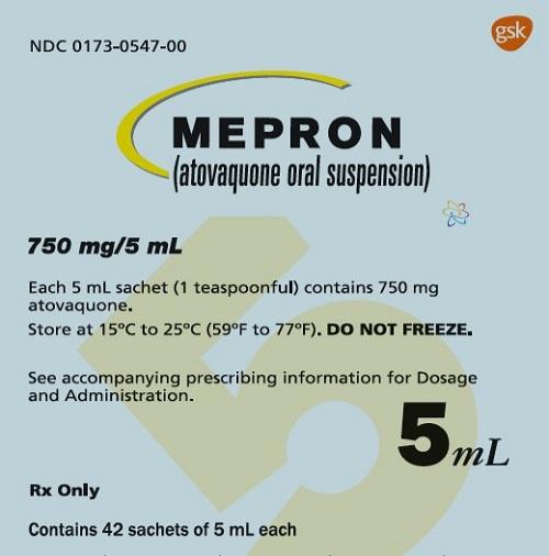 Mepron 750 mg 42 count sachet carton