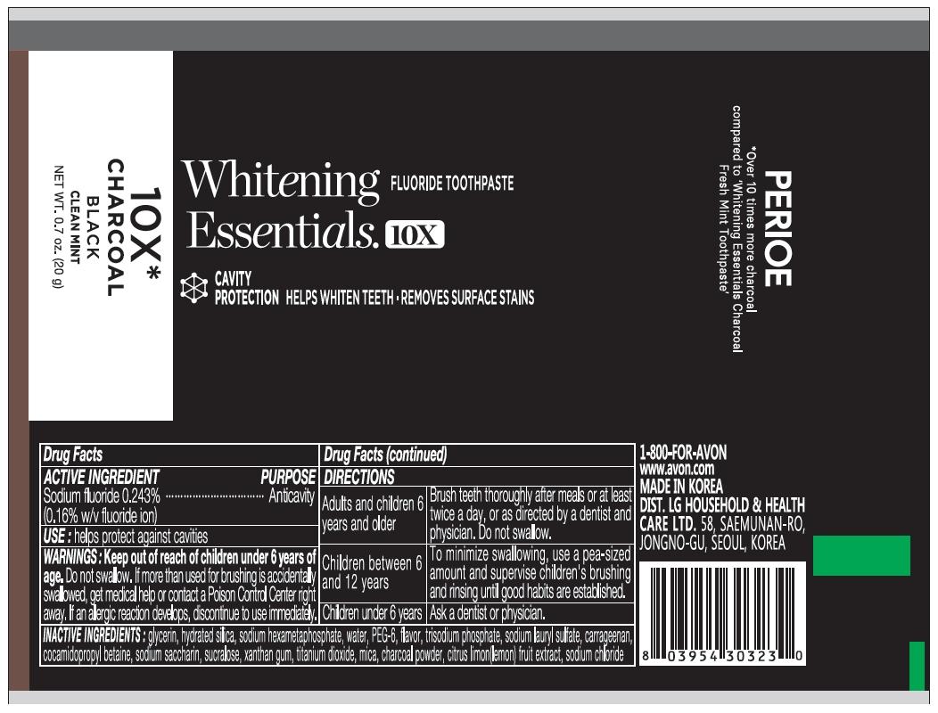 Perioe whitening essentials 10x charcoal black clean mint 20g
