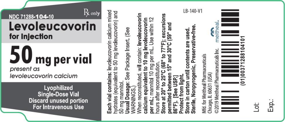 Principal Display Panel – Levoleucovorin for Injection 50 mg Vial Label