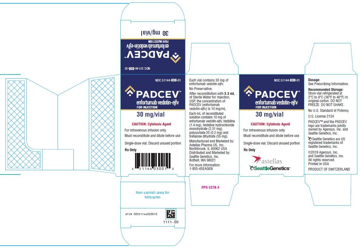 Padcev (enfortumab vedotin-ejfv) for injection 30 mg/vial label